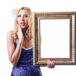 Woman with picture frames on white - Foto de Stock