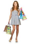 šťastná dívka po velké nákupy — Stock fotografie