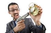 Homme d'affaires, tuer le temps sur blanc — Photo