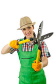 Girl with garden scissors on white — Stock Photo