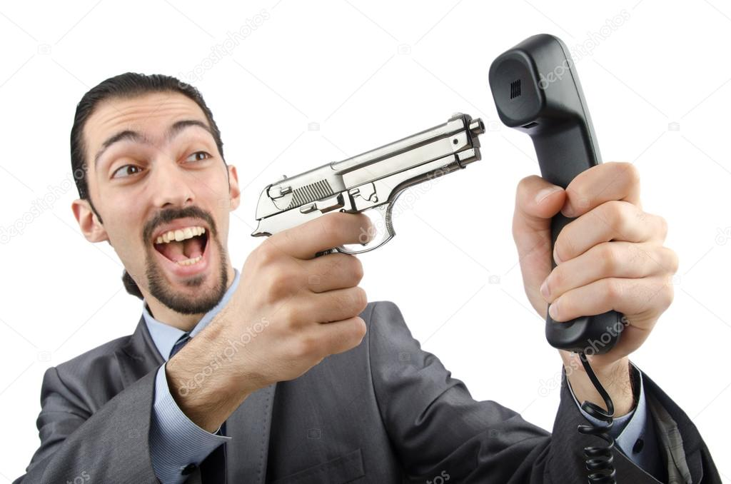 Angry businessman killing the phone  Stock Photo #12650407