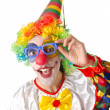 Funny clown on the white — Stock Photo
