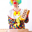 Bad construction concept with clown laying bricks — Foto de Stock