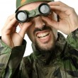 Funny soldier with binoculars — Stock Photo #12846470