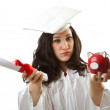 Royalty-Free Stock Photo: Expensive education concept with student and piggy bank
