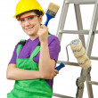 Stock Photo: Woman worker with ladder on white