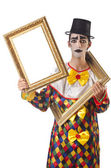 Sad clown on the white — Stock Photo