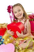 Concepto de celebración con la chica y los giftboxes — Foto de Stock