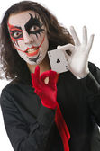 Joker with cards isolated on white — Stock Photo