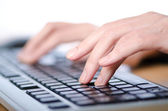 Hands typing on the keyboard — Stock Photo