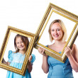 Happy mom and daughter on white — Stock Photo