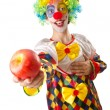 Funny clown on the white - Stock Photo