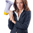 Businesswoman with loudspeaker on white — Stock Photo #13169406