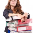 Stock Photo: Businesswomwith lots of folders