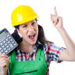 Royalty-Free Stock Photo: Woman builder with calculator on white