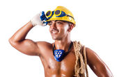 мускулистые строитель с инструментами, изолированные на белом фоне — Стоковое фото