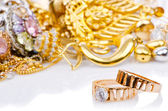 Large collection of gold jewellery — 图库照片