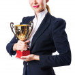 Businesswoman with prize on white — Stock Photo #13295909