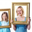 Happy mom and daughter on white — Stock Photo #13292977