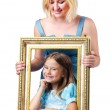 Happy mom and daughter on white — Stock Photo #13292980