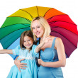 Happy mom and daughter on white — Stock Photo #13292984