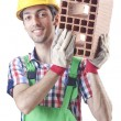 Stock Photo: Construction worker isolated on white