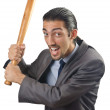 Angry businessman with bat on white — Stock Photo #13296463
