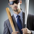 Angry businessman with bat on white — Stock Photo #13296479