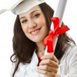 Royalty-Free Stock Photo: Happy student celebrating graduation on white