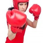 Woman boxer on white background — Stock Photo