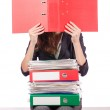 Businesswoman with lots of folders — Stock Photo #13298814