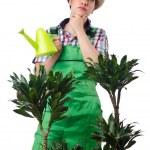 白地に植物の水遣りの女の子 — ストック写真