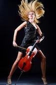 Woman playing cello on white — Stock Photo