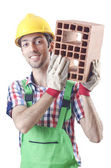 Construction worker isolated on the white — Stock Photo