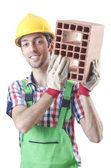 Pracownik budowlany na białym tle — Zdjęcie stockowe