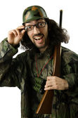 Funny soldier in humour concept — Stock Photo