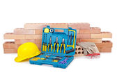 Construction concept with helmet and toolkit — Foto de Stock
