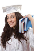 Happy graduate on white background — Stock Photo