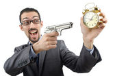 Businessman killing the time on white — Stock Photo