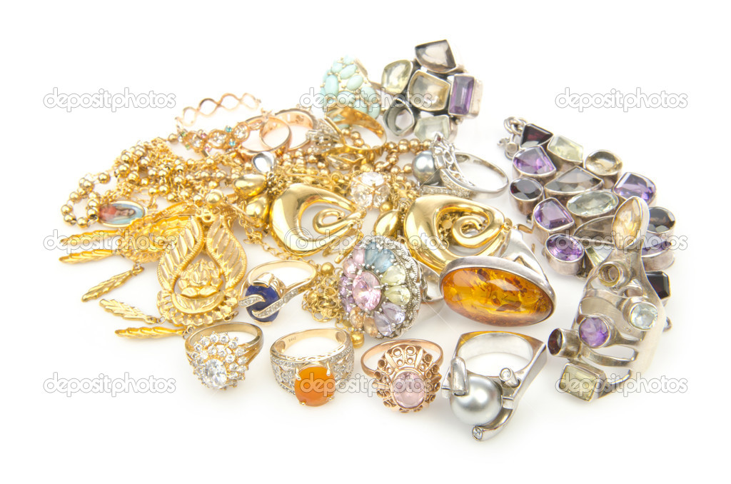 Lots of jewellery on white — Stock Photo #13298072