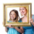 Happy mom and daughter on white — Stock Photo #13401549
