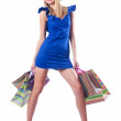 Young woman in christmas shopping concept — Stockfoto