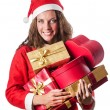 Young woman in christmas shopping concept — Stock Photo