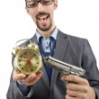 Businessman killing the time on white — Stock Photo #13405713