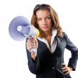 Businesswoman with loudspeaker on white — Stock Photo #13406287