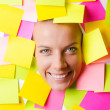Woman with lots of reminder notes — Stock Photo #13406304