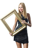Woman holding picture frame on white — Stock Photo
