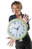Femme d'affaires avec horloge isolé sur blanc — Photo