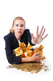 Woman with coins and golden sacks — Stock Photo