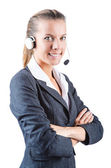 Call center operator isolated on white — Stock Photo
